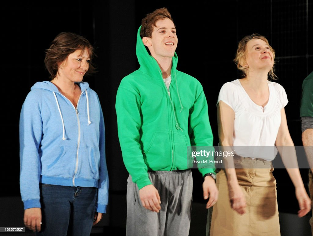 Cast member Holly Aird, Luke Treadaway and Niamh Cusack bow at the curtain call during the press night performance of 'The Curious Incident of the Dog in the Night-Time' at The Apollo Theatre on March 12, 2013 in London, England.