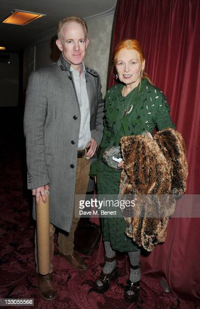 Cast member Ian Kelly and Dame Vivienne Westwood pose backstage at the West End production of 'The Pitmen Painters' at The Duchess Theatre on...