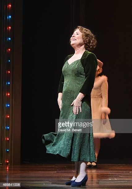 Cast member Imelda Staunton bows at the curtain call during the press night performance of Gypsy at The Savoy Theatre on April 15 2015 in London...