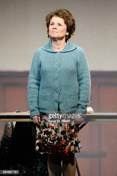Cast member Imelda Staunton bows at the curtain call during the press night performance of Good People at the Noel Coward Theatre on April 15 2014 in...