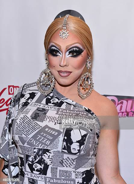 Cast member India Ferrah arrives at a viewing party for the season six finale of RuPaul's Drag Race at the New Tropicana Las Vegas on May 19 2014 in...