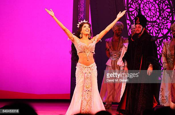Cast member Jade Ewen bows at the curtain call during the press night performance of Disney's Aladdin at The Prince Edward Theatre on June 15 2016 in...