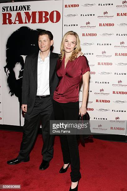 Cast member Jake La Botz and wife/actress Abby Brammell arrive at the world premiere of the movie 'Rambo' held at the Planet Hollywood Resort and...