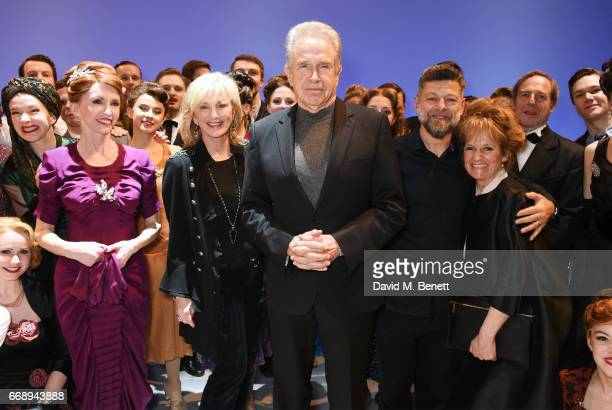 Cast member Jane Asher, co-producer Sybil Robson Orr, Warren Beatty, Andy Serkis and Lorraine Ashbourne pose backstage with cast members of the West...