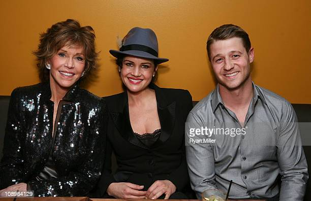 """Cast member Jane Fonda, actress Carla Gugino and actor Ben McKenzie pose during the party for the opening night performance of """"33 Variations"""" at..."""