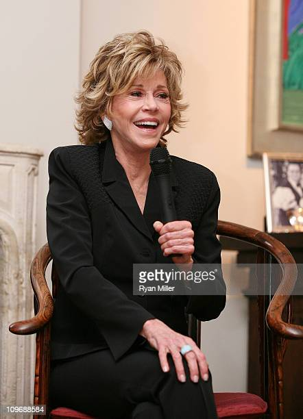 Cast member Jane Fonda speaks during Center Theatre Group's Artistic Director's Circle Event with Jane Fonda star of 33 Variations at the Ahmanson...
