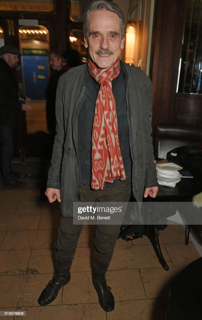 Cast member Jeremy Irons attends the press night after party of 'Long Day's Journey Into Night' at Browns on February 6, 2018 in London, England.