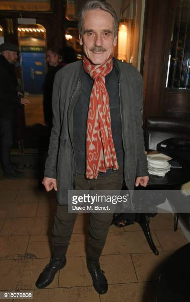 Cast member Jeremy Irons attends the press night after party of Long Day's Journey Into Night at Browns on February 6 2018 in London England