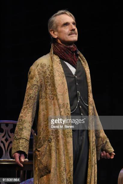 Cast member Jeremy Irons bows at the curtain call during the press night performance of 'Long Day's Journey Into Night' at Wyndhams Theatre on...
