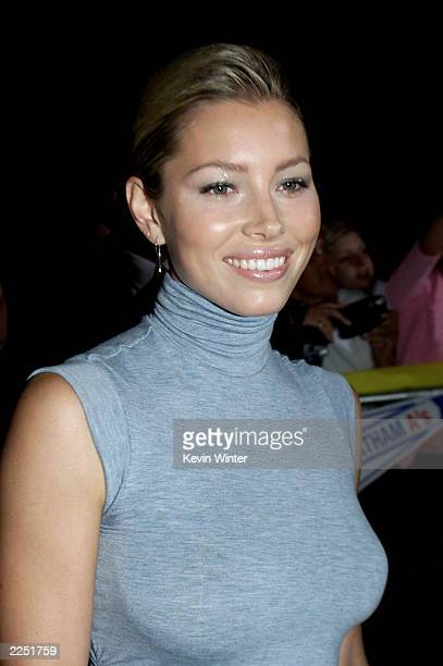 Cast member Jessica Biel at the 'Summer Catch' Premiere held at the Mann Village Theater in Los Angeles CA August 22 2001