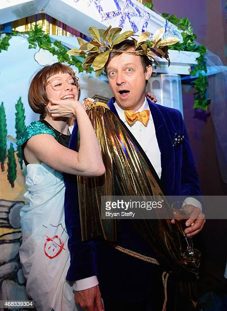 ABSINTHE cast member Joy Jenkins and producer Ross Mollison attend the show's fourth anniversary party at Caesars Palace on April 1 2015 in Las Vegas...