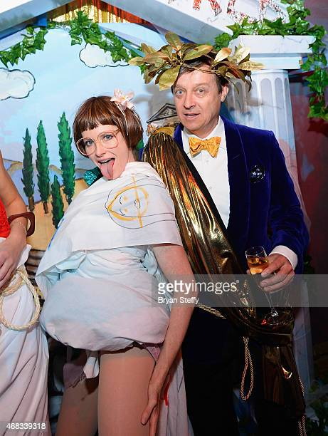 'ABSINTHE' cast member Joy Jenkins and producer Ross Mollison attend the show's fourth anniversary party at Caesars Palace on April 1 2015 in Las...