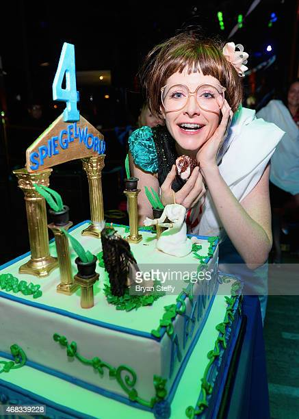 ABSINTHE cast member Joy Jenkins attends the show's fourth anniversary party at Caesars Palace on April 1 2015 in Las Vegas Nevada