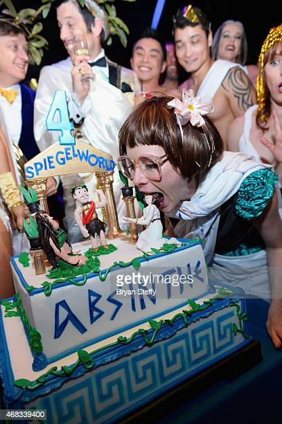'ABSINTHE' cast member Joy Jenkins attends the show's fourth anniversary party at Caesars Palace on April 1 2015 in Las Vegas Nevada