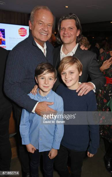 Cast member Kelsey Grammer Jaxon Knopf Billy Barratt and director Nigel Harman attend the press night after party for Big Fish The Musical at The...