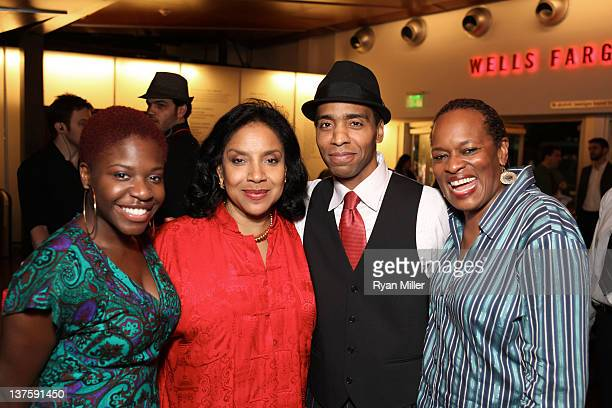 Cast member Kenya Alexander Director Phylicia Rashad and cast members Kevin T Carroll and Kim Staunton pose during the party for the opening night...