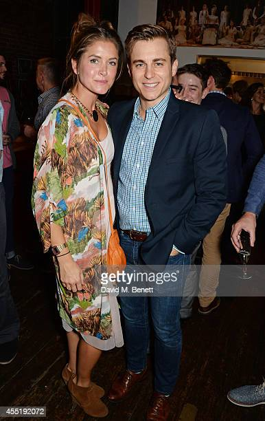 "Cast member Kevin Bishop and wife Casta Bishop attend an after party following the press night performance of ""Fully Committed"" at the Menier..."