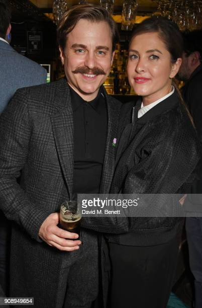 "Cast member Kevin Bishop and wife Casta Bishop attend the press night after party for ""Lady Windermere's Fan"" at The Porterhouse on January 22, 2018..."