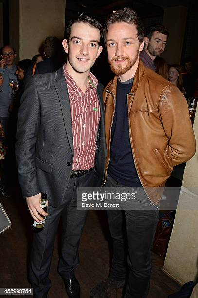 Cast member Kevin Guthrie and James McAvoy attend an after party following the press night performance of 'Teh Internet Is Serious Business' at The...
