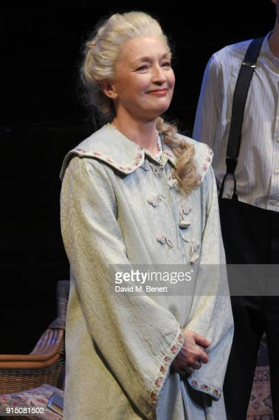 Cast member Lesley Manville bows at the curtain call during the press night performance of Long Day's Journey Into Night at Wyndhams Theatre on...