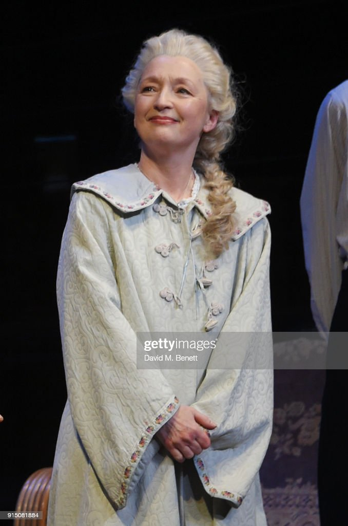 Cast member Lesley Manville bows at the curtain call during the press night performance of 'Long Day's Journey Into Night' at Wyndhams Theatre on February 6, 2018 in London, England.