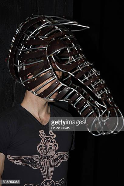 Cast member Lorenzo Pisoni models an original prop from the original Equus from 1974 at The Broadhurst Theatre on November 12 2008 in New York City