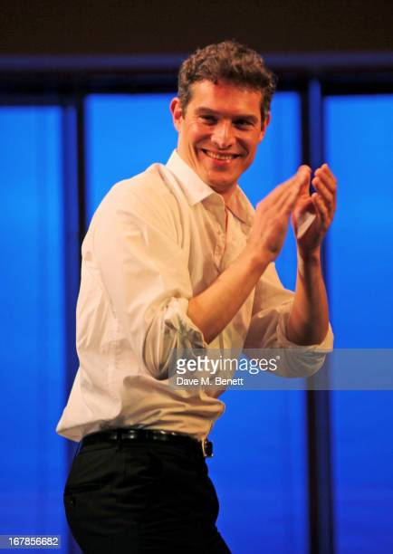 Cast member Mark Umbers bows at the curtain call during the press night performance of the Menier Chocolate Factory's 'Merrily We Roll Along' as it...