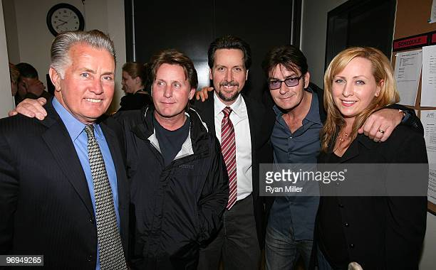 Cast member Martin Sheen poses with his family Emilio Estevez Ramon Estevez Charlie Sheen and Renee Estevez backstage after the opening night...