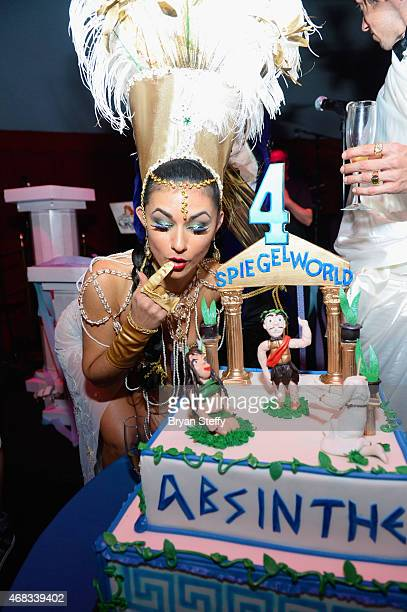 ABSINTHE cast member Melody Sweets attends the show's fourth anniversary party at Caesars Palace on April 1 2015 in Las Vegas Nevada