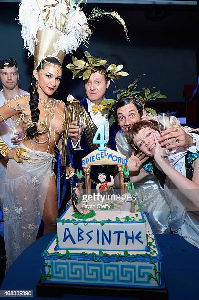 'ABSINTHE' cast member Melody Sweets producer Ross Mollison and cast members The Gazillionaire and Joy Jenkins attend the show's fourth anniversary...