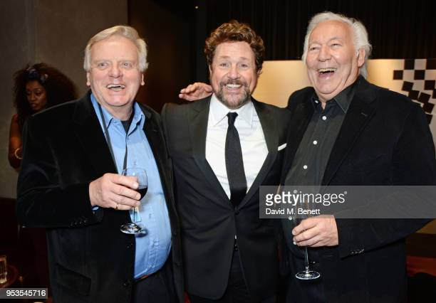 Cast member Michael Ball poses with producers Michael Grade and Michael Linnit at the press night after party for Chess at St Martins Lane on May 1...