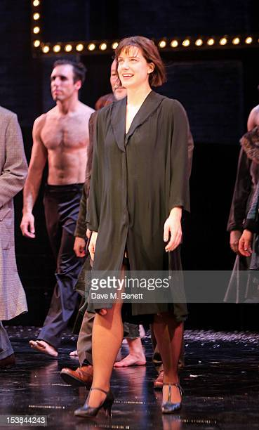 Cast member Michelle Ryan bows at the curtain call during the press night performance of 'Cabaret' at The Savoy Theatre on October 9 2012 in London...