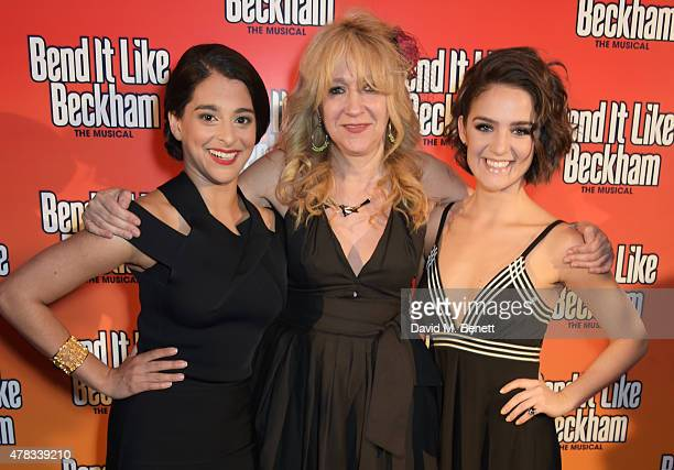 Cast member Natalie Dew producer Sonia Friedman and cast member Lauren Samuels attend the after party following the press night performance of Bend...
