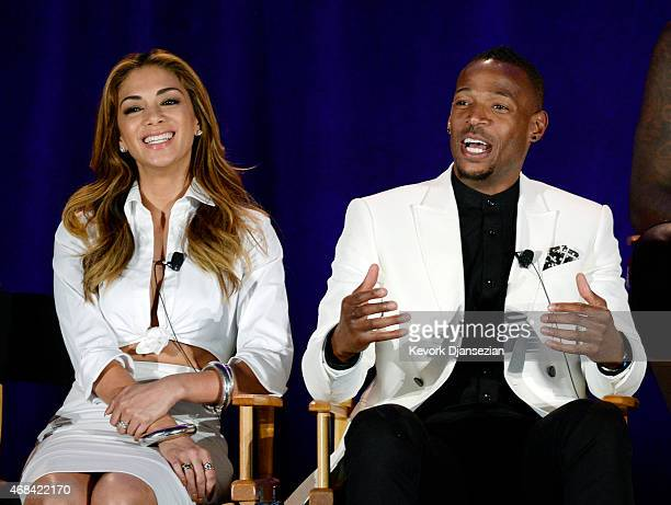 Cast member Nicole Scherzinger host Marlon Wayans of variety show 'I Can Do That' during NBCUniversal Summer Press Day on April 2 2015 in Pasadena...