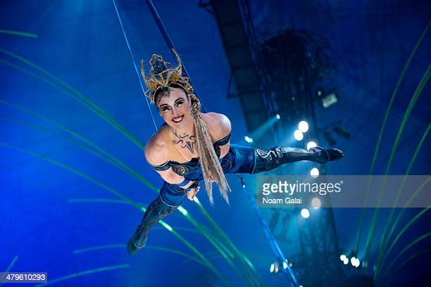 "Cast member of Cirque Du Soleil performs at the ""Cirque Du Soleil Amaluna"" dress rehearsal at Citi Field on March 19, 2014 in New York City."