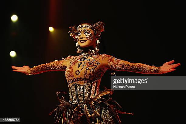 A cast member of Cirque Du Soleil performs in 'Cirque Du Soleil's Totem' dress rehearsal at Alexandra Park on August 21 2014 in Auckland New Zealand