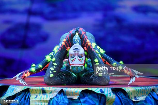 A cast member of Cirque Du Soleil TOTEM performs during a dress rehearsal at Royal Albert Hall on January 11 2019 in London England