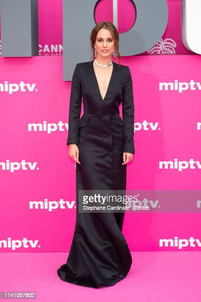 Cast member of 'Instinto' Spanish actress Silvia Alonso poses on the pink carpet during the 2nd Canneseries International Series Festival Day Three...