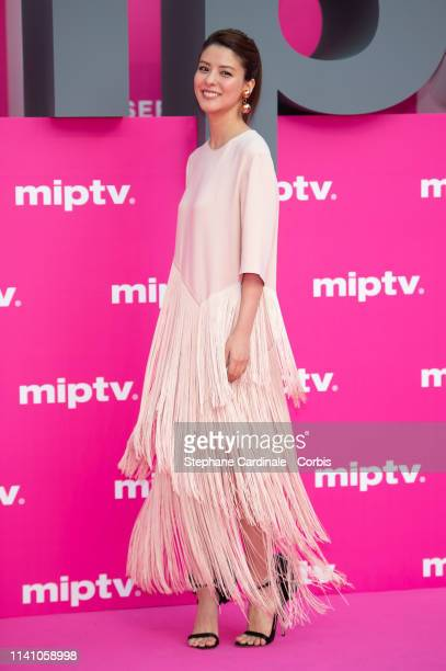 Cast member of 'Junichi', Japanese actress Fujii Mina poses on the pink carpet during the 2nd Canneseries - International Series Festival : Day Three...