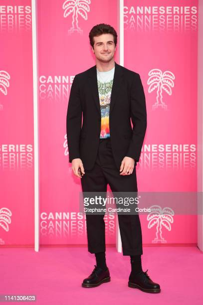 Cast member of 'Now Apocalypse' US actor Beau Mirchoff poses on the pink carpet during the 2nd Canneseries International Series Festival Day Four on...