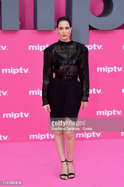 Cast member of 'Perfect Life', Spanish actress Celia Freijeiro poses on the pink carpet during the 2nd Canneseries - International Series Festival :...