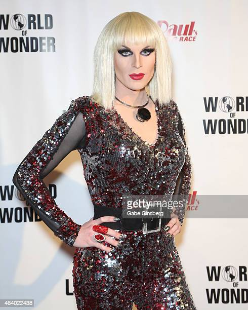 Cast member of season seven of RuPaul's Drag Race Katya arrives at a viewing party for the show's premiere at the Chateau Nightclub Rooftop at the...