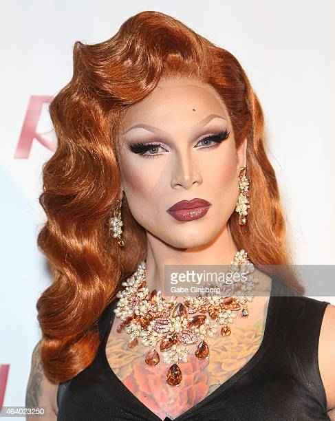 Cast member of season seven of 'RuPaul's Drag Race' Miss Fame arrives at a viewing party for the show's premiere at the Chateau Nightclub Rooftop at...