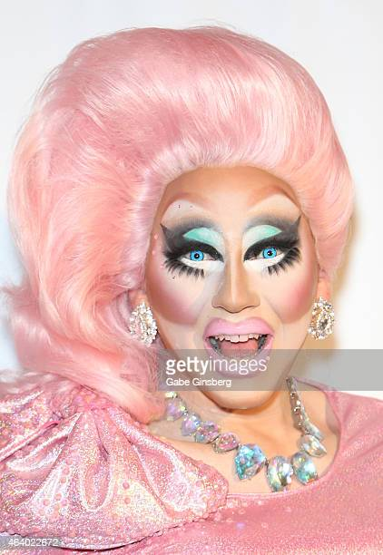 Cast member of season seven of RuPaul's Drag Race Trixie Mattel arrives at a viewing party for the show's premiere at the Chateau Nightclub Rooftop...