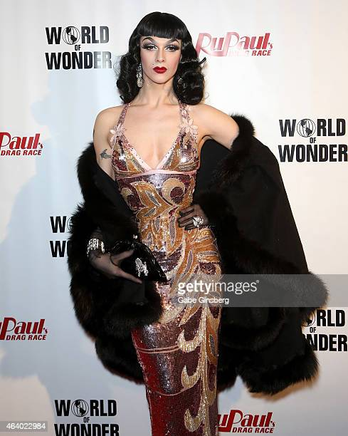Cast member of season seven of RuPaul's Drag Race Violet Chachki arrives at a viewing party for the show's premiere at the Chateau Nightclub Rooftop...