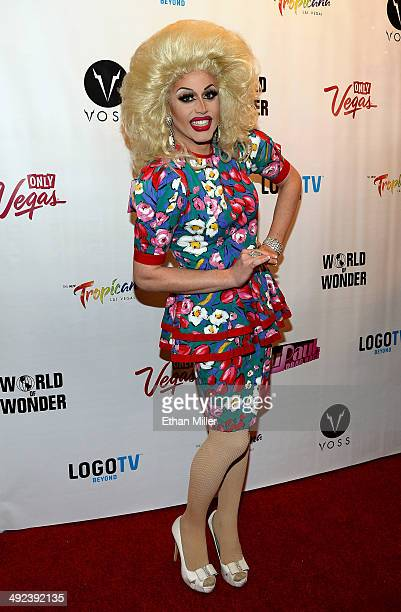 Cast member of season six of RuPaul's Drag Race Magnolia Crawford arrives at a viewing party for the show's finale at the New Tropicana Las Vegas on...