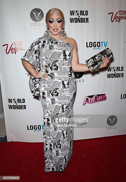 Cast member of season three of RuPaul's Drag Race India Ferrah arrives at a viewing party for the show's finale at the New Tropicana Las Vegas on May...