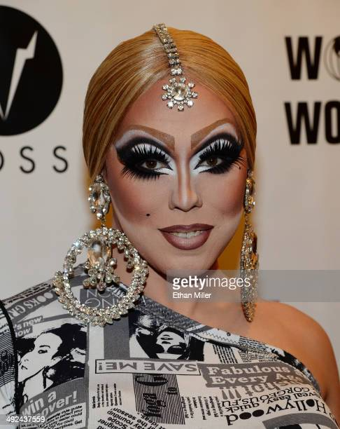Cast member of season three of 'RuPaul's Drag Race' India Ferrah arrives at a viewing party for the show's season six finale at the New Tropicana Las...