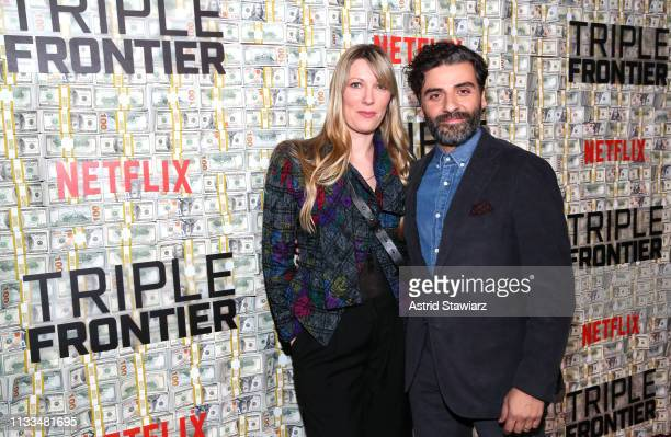 Cast member Oscar Isaac and Elvira Lind attend Netflix World Premiere of TRIPLE FRONTIER at Lincoln Center on March 03 2019 in New York City