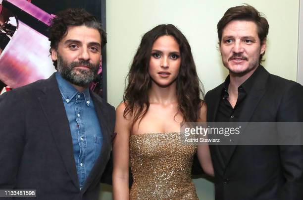 Cast member Oscar Isaac Cast member Adria Arjona and Cast member Pedro Pascal attend Netflix World Premiere of TRIPLE FRONTIER at Lincoln Center on...